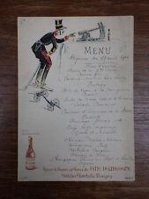 1 MENU RESTAURANT Daté 27/08/1910 FINE BOURGOGNE CHAMBOLLE MUSIGNY illustré