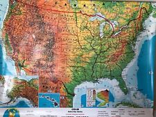 Pull Down School Maps 2 Layer U.S, World. Vintage, Salvage, Old, Antique.