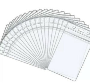 5x Clear Vertical Waterproof Plastic ID Card Bus Pass Holders 65mmX90mm UKSell