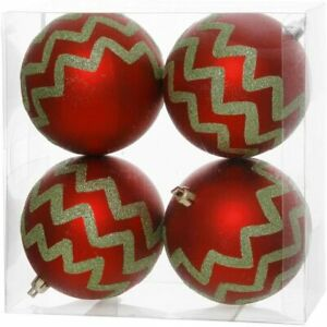 "Vickerman 4ct Set  Red & Lime Green 4"" Chevron Striped Christmas Ball Ornaments"