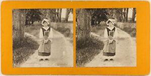 FRANCE La Belle Laitière c1900 Photo Stereo Vintage Argentique