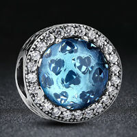 Xmas .925 Silver Sterling Sky-Blue Crystal & Clear CZ Radiant Hearts Charm Bead