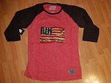 RED LONG SLEEVE T-SHIRT USA FLAG LONG SLEEVE FASHION T-SHIRT L