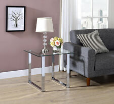Kings Brand Furniture - Bevan Glass Top Metal Frame Square End Table, Chrome