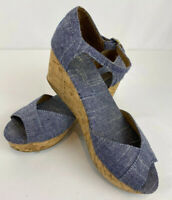 TOMS Womens Chambray Denim Cork Wedge Peep Toe Sandals Ankle Strap Shoes 8