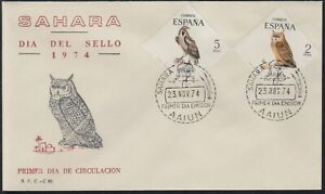 Sahara 317/18 1974 Day Of Stamp Wildlife Owls - Vulture SPD Over First Day