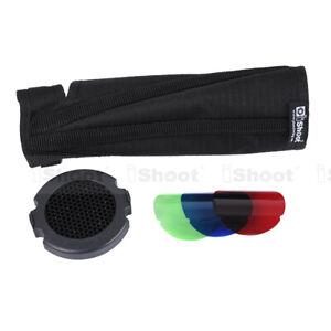 New-25°+45° Honeycomb Grid+3 Color Filter+Snoot Flash Softbox Diffuser Reflector