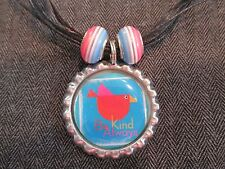 BE KIND ALWAYS Black Ribbon Bottle Cap Bling Charm Necklace Striped Beads Bird