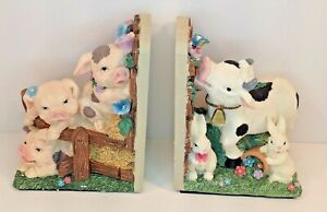 """Hand Painted Scenic Bookends Ceramic Farm Animals Cow Pigs Rabbits Fence 8"""" x 5"""""""