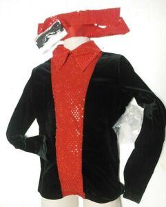 NWOT Long sleeve Velvet top zipperback girls or boys Int 6X-7 red Hologram