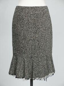 Hobbs Tweed Skirt 12 Black & White Raw Edge Fit & Flare Pencil Wiggle Wool Blend