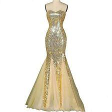 Bling Sequined Bridal Wedding Dress Women Mermaid Dress Full Length Dress LL