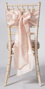 Blush Pink Taffeta Wedding Chair Sashes  1,10,25,50 or 100 sashes ,