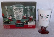 4 Pfaltzgraff WINTERBERRY Water Goblets Etched Handpainted 14oz  Footed Glasses