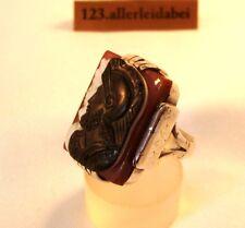Rarität alter Achat Gemme Ring 900 Silber Cameo Kamme Achat Lagenstein / BC 154