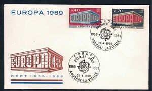 """1969 ANDORRA, FDC cover with """"Europe"""" stamps"""