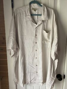 Men's Tommy Bahama size 4XT silk beige button down short sleeve shirt
