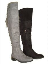 LADIES OVER THE KNEE LONG BOOTS LACE UP BACK GOLD TRIM HEEL