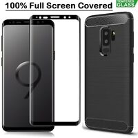 For Samsung S8 S9 Plus J4 J6 + A6 A7 A8 Case Armor Cover + Tempered Glass Film