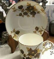Vintage England Autumn Gold Floral Design Tea Cup Saucer Set