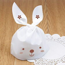 50X Bunny Rabbit Ear Cookie Cake Plastic Packing Food Candy Bakery Gift Bags