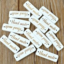 """25Pcs Wooden """"Handmade"""" Letter Carved Sewing Scrapbooking 2 Holes Buttons"""