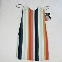 Women's Volcom Summer Mini Dress Multi Color Stripe Pink Blue White Size Small