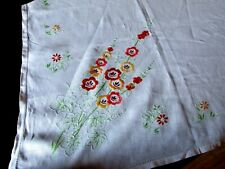 VINTAGE HAND EMBROIDERED LINEN  FLORAL TABLECLOTH  -STUNNING 128 cm Sq