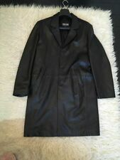 Leather Collared Regular Size Overcoat for Men