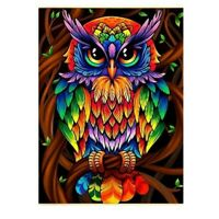 5D Full Drill Diamond Painting Colourful Owl Cross Stitch Kits Art Wall Decors