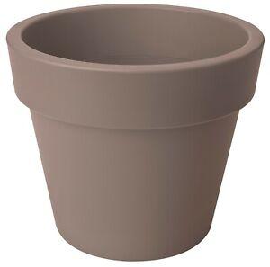 LARGE 40cm Round Barrel Planter Plastic Plant Pot Taupe 24 Litre Double Walled