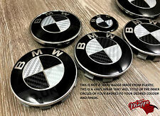 BLACK &SILVER CARBON FIBER BMW Badge Emblem Overlay HOOD TRUNK RIMS FITS ALL BMW