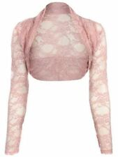 Ladies Lace Cropped Sheer Mesh LongSleeve Bolero Shrug Open Front Cardigans 8-22
