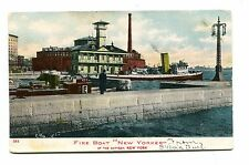 Vintage Postcard FIRE BOAT  NEW YORKER at the Battery  1907 udb New York City