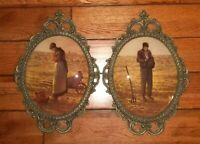 Vintage Brass Elaborate Scrolled Convex Picture Frames Woman Man Farmer Praying