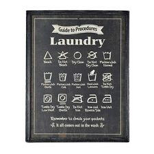 Large Laundry Sign Wooden Framed Picture Plaque Utility Wash Room Instructions