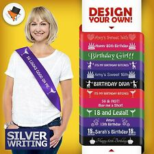 PERSONALISED BIRTHDAY PARTY SASH FOR 40TH 50TH 60TH 70TH SILVER WRITING QUALITY&
