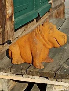 HIPPO NILPFERD aus Gusseisen - Gartenfigur aus Edelrost Gusseisenfigur