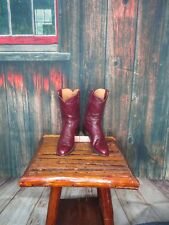 Ladies Maroon Leather Justin Roper Western Boots Sz: 8.5 A NARROW (#20367 AF)