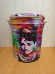 Funky Iconic Audrey Hepburn Material Covered Metal Stool/Seating/Storage Small