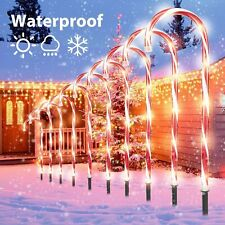 10pcs Christmas Candy Cane Pathway Marker Lights USB Street Lamp Yard Decor