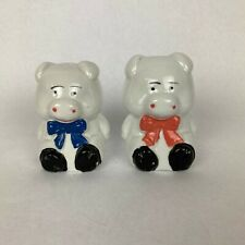 Vintage Pig Salt & Pepper Shakers Painted Ceramic White Bowtie Kitchen Decor