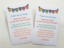 Personalised Forget Me Not Seed Good Luck 1st first day at school nursery gift
