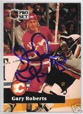 GARY ROBERTS 1992 PRO SET FLAMES AUTOGRAPHED HOCKEY CARD JSA