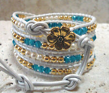 Swarovski® Pearls & Indicolite Elements Handmade Beaded Leather Wrap Bracelet