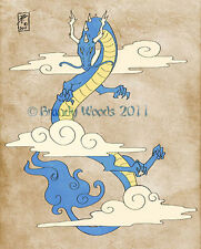 China Japan DRAGON Cloud tattoo Asiatic Karate art print painting Brandy Woods