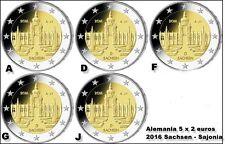 ALEMANIA 5 X 2 EUROS 2016 A,D,F,G y J-  SACHSEN - SIN CIRCULAR -