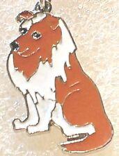 Collie Dog Pup Bag Purse Charm Dangle Enamel Alloy Zipper Pull Jewelry