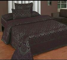 """KingSize 500TC Chenille Double Bedsheet with 2 PillowCover 90"""" X 100""""  Wine"""
