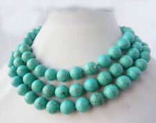 Long 36inches 10mm Natural Blue Turkey Turquoise Gemstone Beads Necklaces JN1962